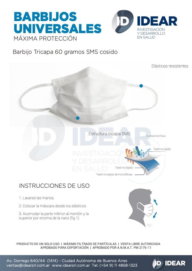 Barbijo tricapa 60g SMS cocido
