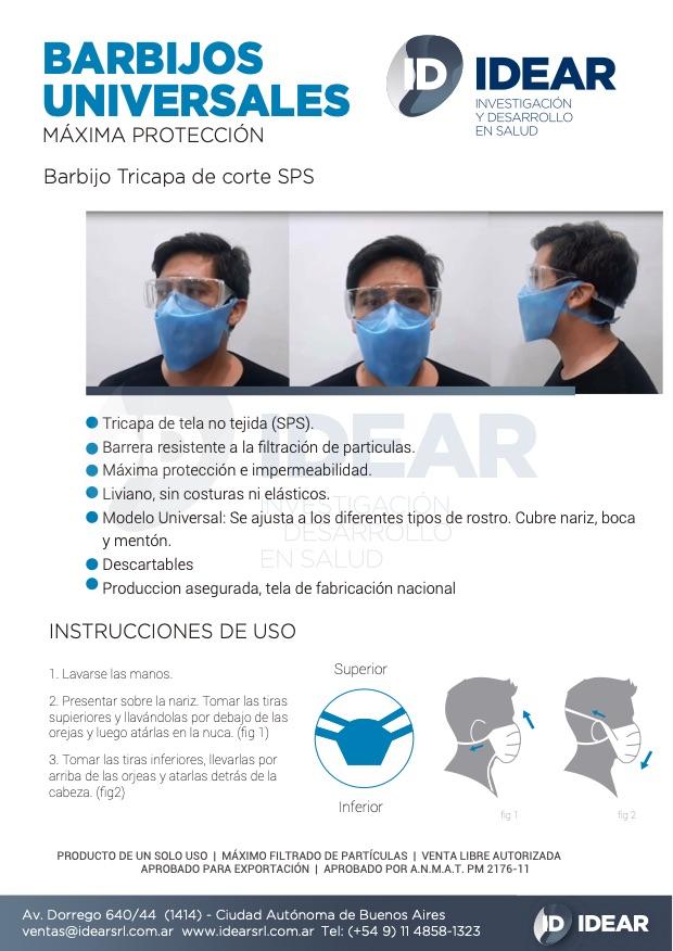 Barbijo Tricapa de corte SPS